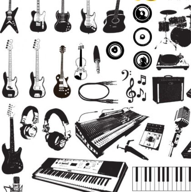 música de instrumentos de gráficos vectoriales Vector Gratis