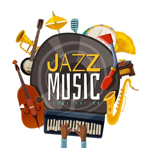 Musica jazz vector gratuito