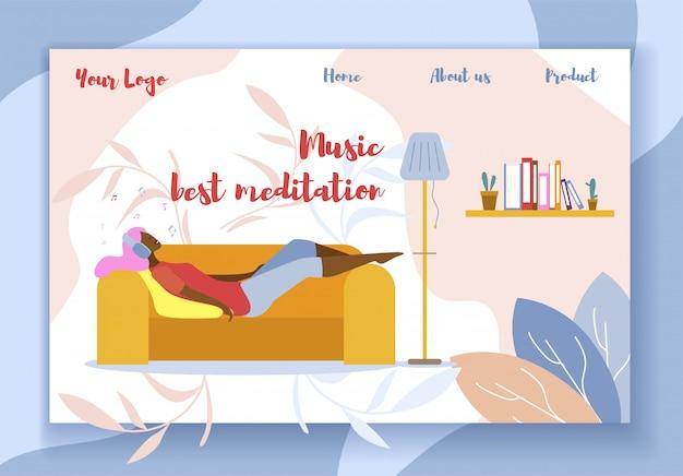 Música mejor meditación promoción flat landing page Vector Premium