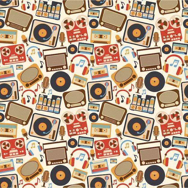 Música retro sin patrón vector gratuito