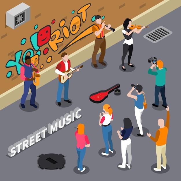 Músicos callejeros ilustración isométrica vector gratuito