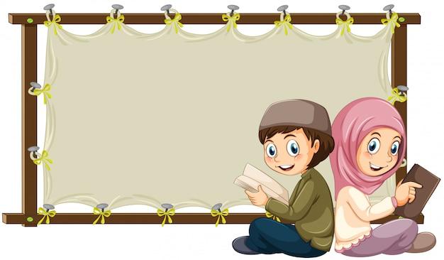 Musulmana y estandarte vector gratuito