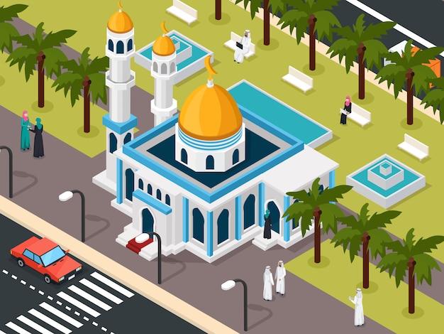 Musulmanes árabes cerca de la composición de la mezquita vector gratuito
