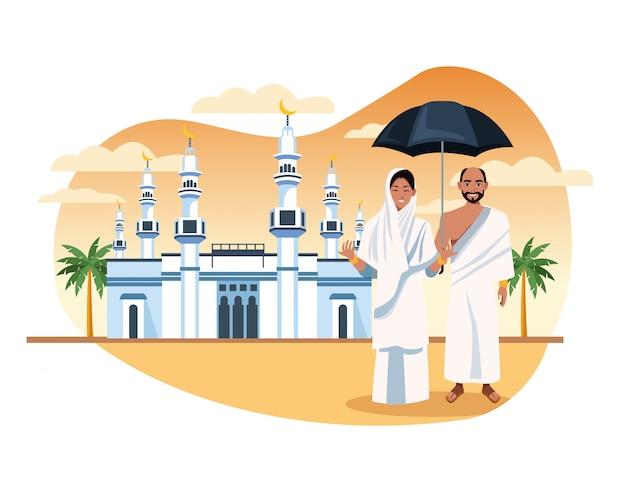 Los musulmanes en la celebración del viaje hajj mabrur Vector Premium