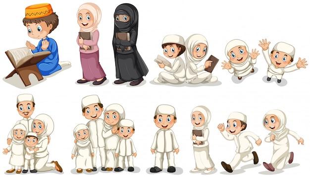 Los musulmanes en diferentes acciones. vector gratuito