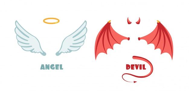 Nadie traje de ángel y demonio. símbolos vectoriales inocentes y travesuras. Vector Premium