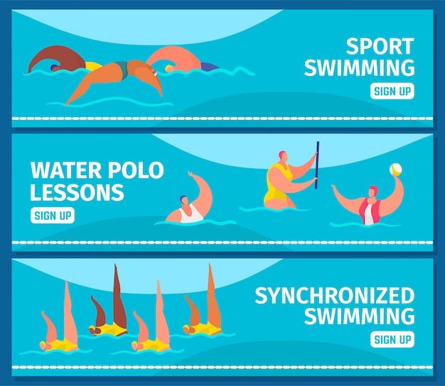 Natación deportiva con personas nadadores profesionales en piscina, banners web conjunto ilustración plana. Vector Premium