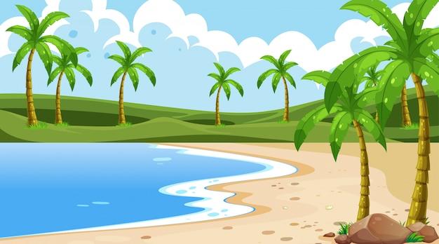 Naturaleza costera vacía oceano paisaje costero vector gratuito