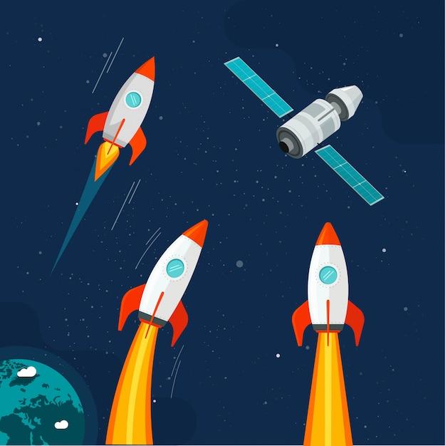Nave espacial cohete y vehículo satelital cósmico en cómic de dibujos animados del espacio exterior Vector Premium