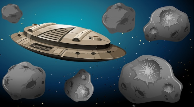 Nave espacial en la escena de los asteroides vector gratuito