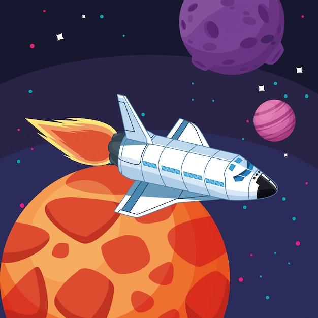 Nave espacial planetas luna exploración espacial Vector Premium