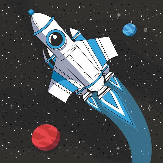 Nave espacial volando en el espacio. vector gratuito