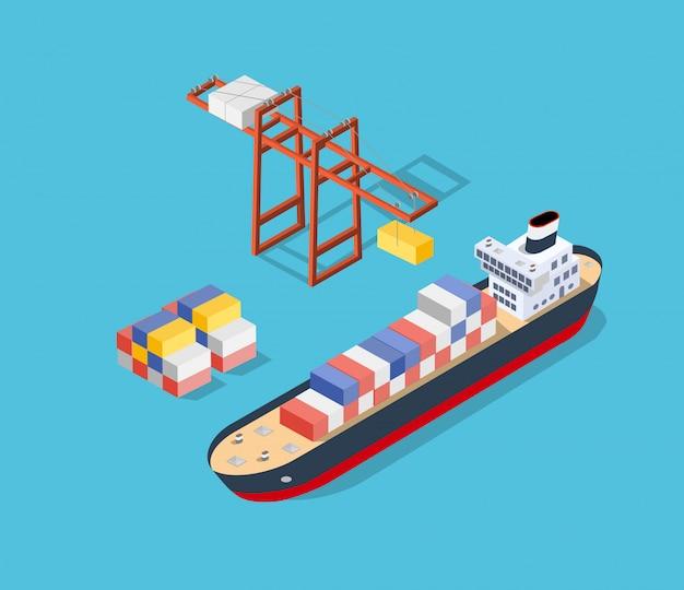 Nave isométrica de carga Vector Premium