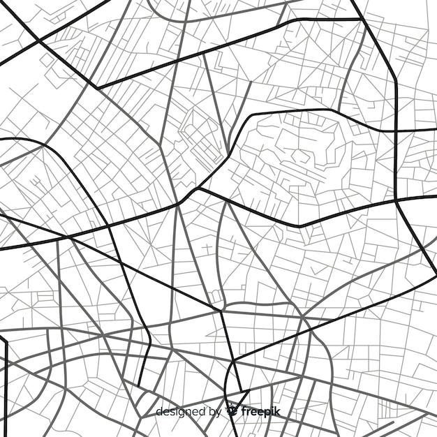 Navegación de la ciudad en blanco y negro en el mapa vector gratuito