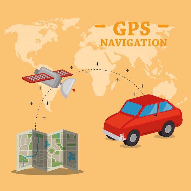 Navegación gps establece iconos vector gratuito