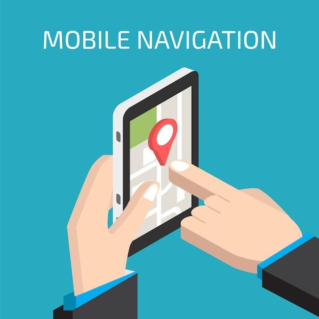 Navegación gps móvil con smartphone en mano. Vector Premium
