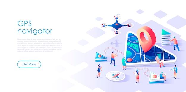 Navegación gps de página de aterrizaje isométrica o concepto plano de soporte Vector Premium