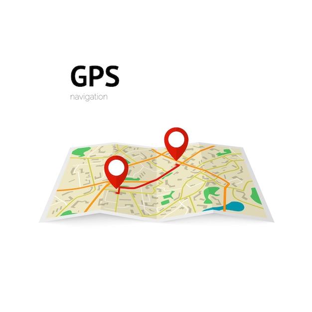 Navegacion gps. la ruta en el mapa se indica con un alfiler. ilustración Vector Premium