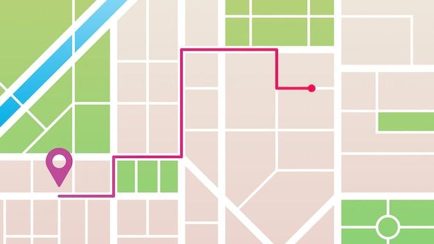 Navegación en el mapa de la ciudad Vector Premium