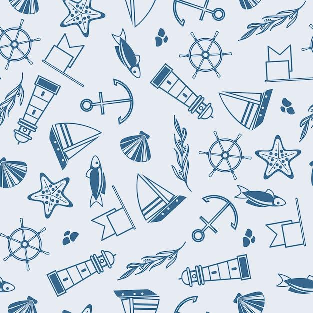 Navegación de patrones sin fisuras con muchos elementos marítimos como coquille, algas, piedras en el azul vector gratuito