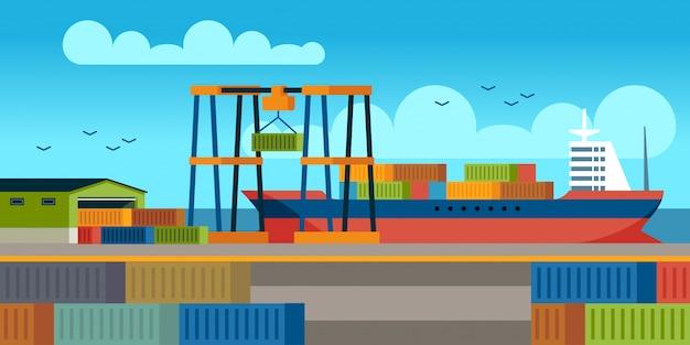 Naves en el muelle. carga de contenedores en el buque de carga en la terminal industrial del puerto. concepto de vector plano de transporte de cargas marinas Vector Premium