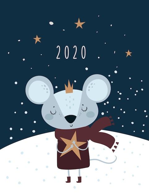 Navidad año nuevo 2020. rata, ratón, ratones, princesa bebé en corona Vector Premium