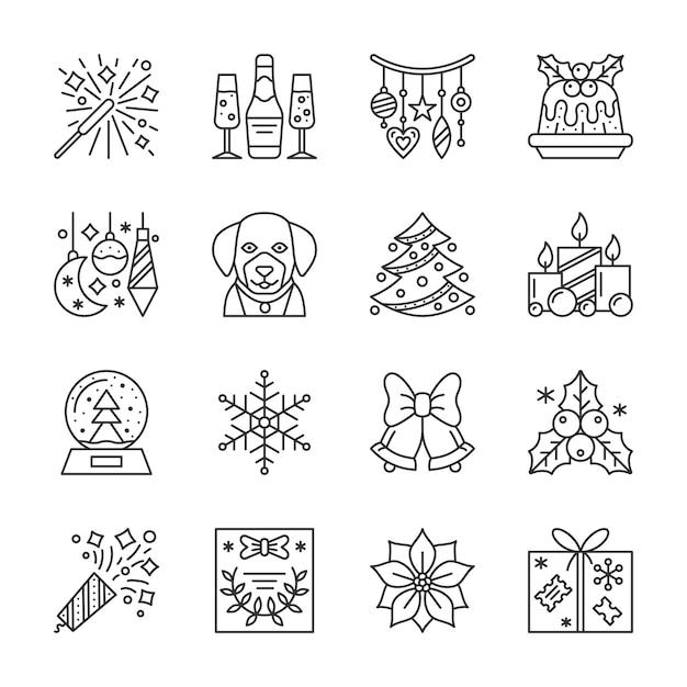 Navidad, año nuevo conjunto de iconos de línea, símbolo lineal de vacaciones de invierno, signo de contorno, trazo editable. Vector Premium