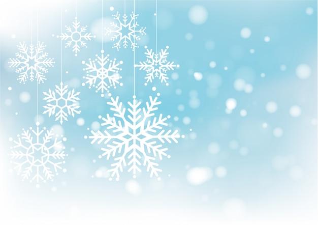 Navidad y año nuevo desenfoque bokeh de luz Vector Premium