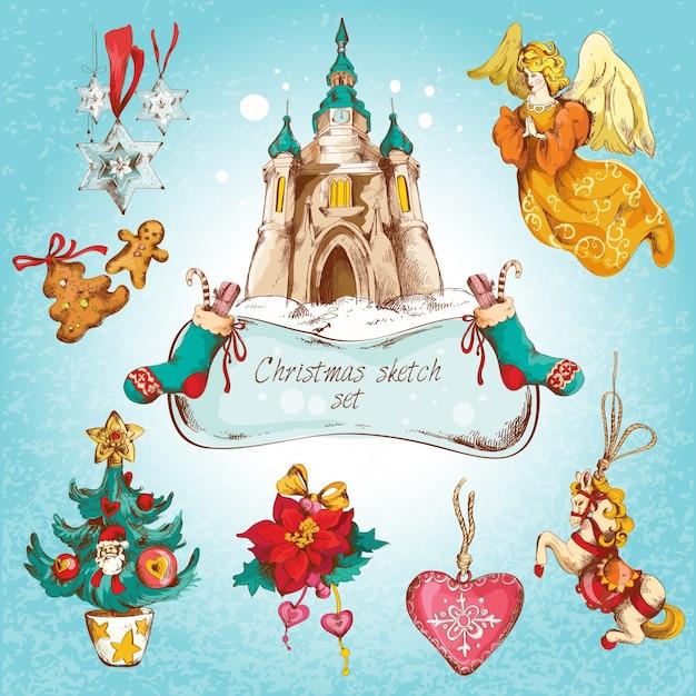 Navidad año nuevo vacaciones decorativos iconos decorativos conjunto de colores aislados ilustración vectorial Vector Gratis