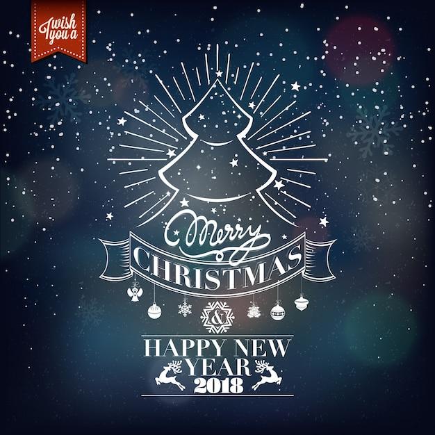 Navidad Y Año Nuevo Vector De Fondo Con Tipografía Tarjeta