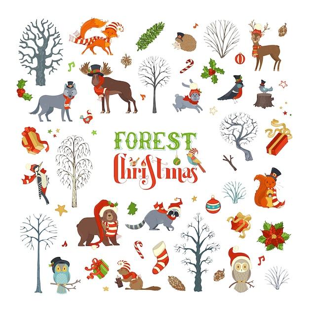 Navidad del bosque. conjunto de árboles de invierno y animales del bosque con gorro de papá noel y bufanda. alce, oso, zorro, lobo, ciervo, búho, liebre, ardilla, mapache, erizo, pájaros, cajas de regalo y adornos navideños. Vector Premium