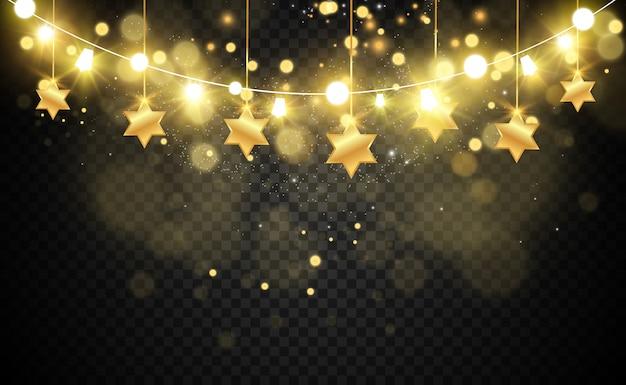 Navidad brillante, hermosas luces, s. luces brillantes para el diseño de tarjetas de felicitación de navidad. guirnaldas, decoraciones navideñas ligeras. Vector Premium
