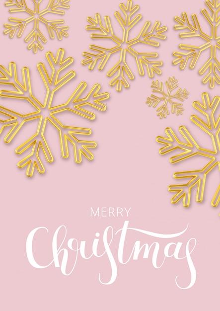 Navidad con copo de nieve de oro sobre rosa. Vector Premium