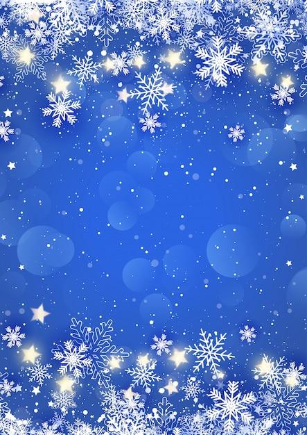 Navidad copos de nieve y estrellas vector gratuito