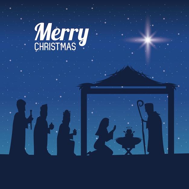 Navidad cristiana tradicional Vector Premium