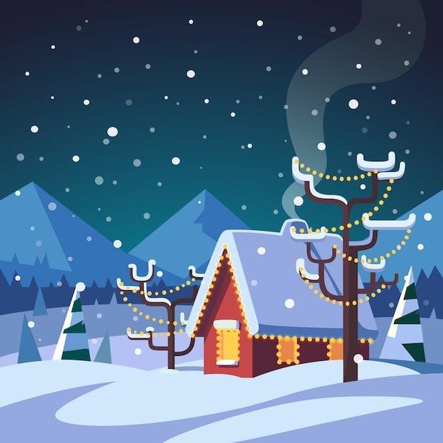 Navidad decorada casa de campo en las monta as descargar - Navidad en casa ...