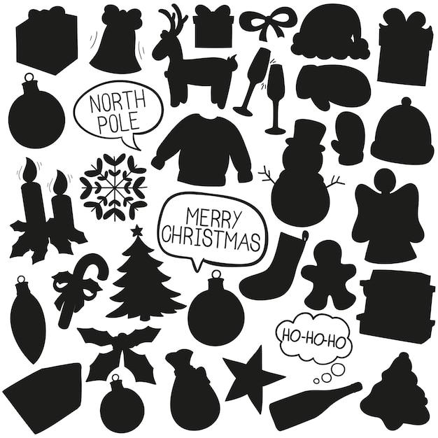 Navidad doodle clip art vector silueta Vector Premium