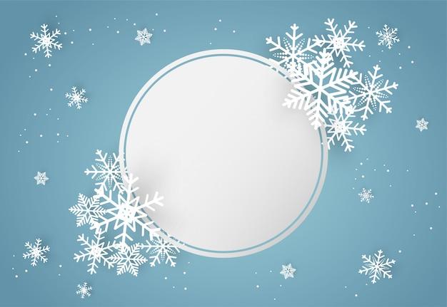 Navidad y feliz año nuevo fondo azul con copo de nieve Vector Premium