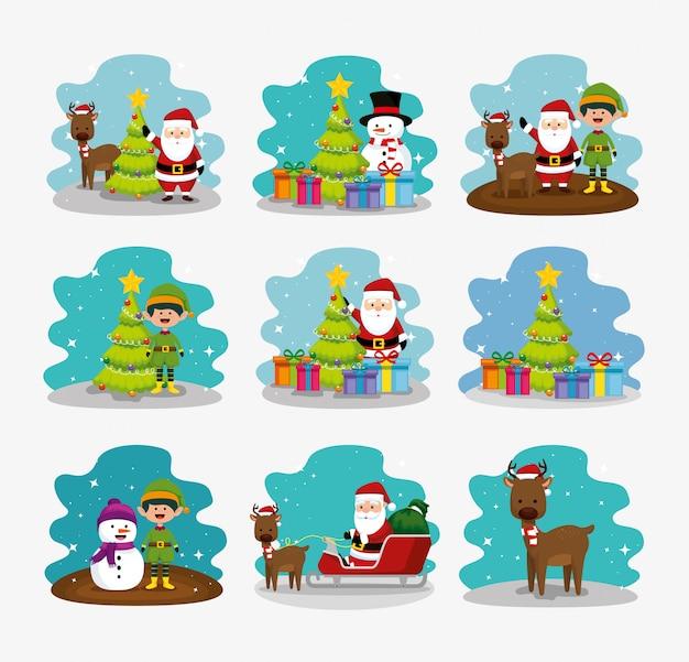 Navidad con muñeco de nieve y conjunto de personajes vector gratuito