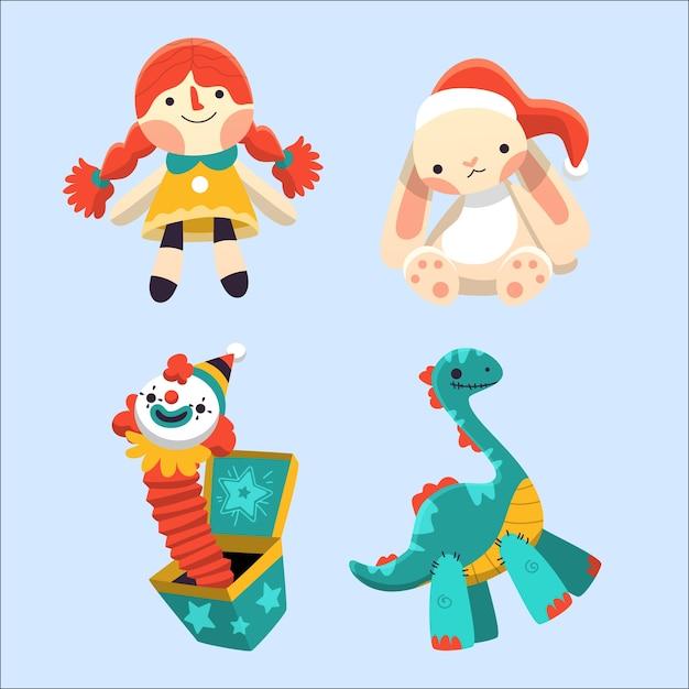 Navidad niños juguetes dibujados a mano vector gratuito