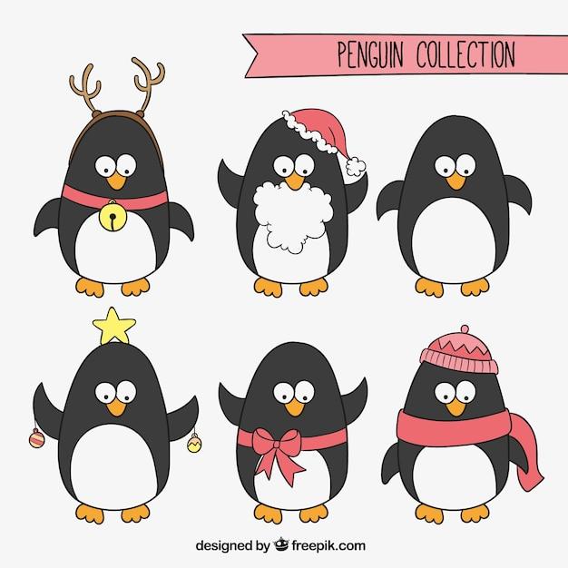 Navidad Pingüinos Colección Descargar Vectores Gratis
