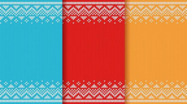 Navidad de punto de patrones sin fisuras. Vector Premium