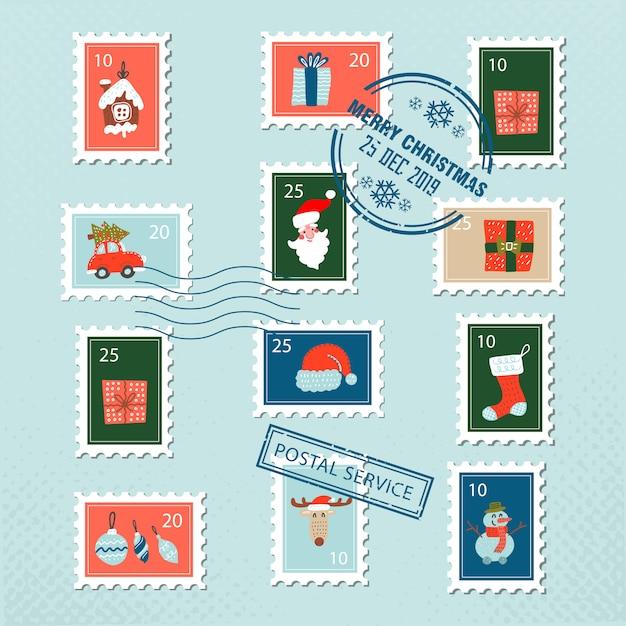 Navidad santa sellos postales para tarjetas de felicitación Vector Premium