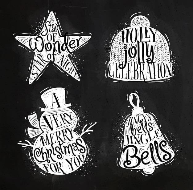 Navidad vintage siluetas estrella, muñeco de nieve, campana, sombrero de invierno Vector Premium