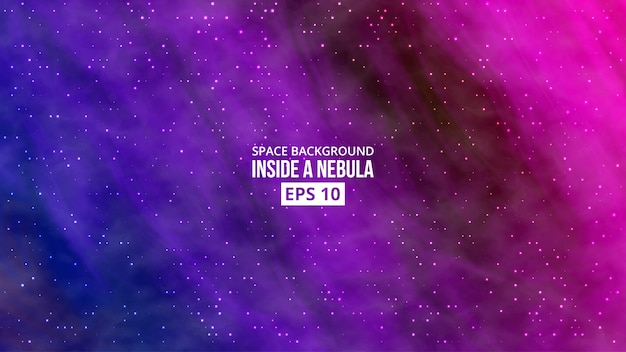 Nebulosa con fondo de estrellas. Vector Premium