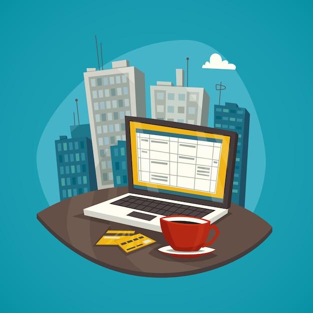 Negocio conjunto de concepto de diseño de lugar de trabajo vector gratuito