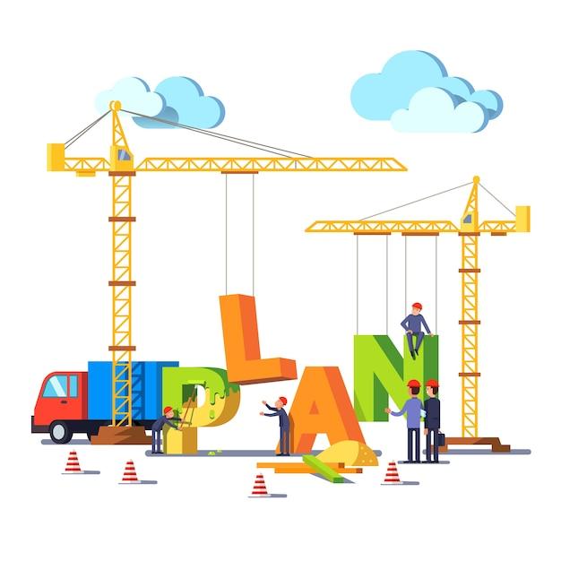 Negocio construcción sitio construcción palabra plan vector gratuito