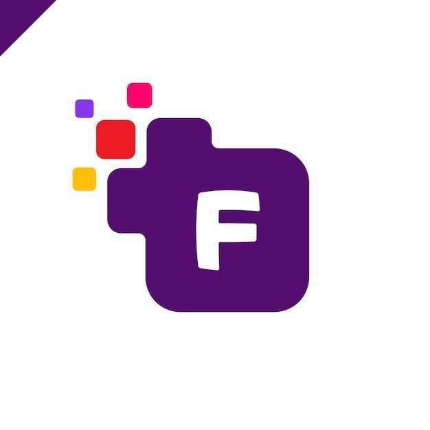 da7921995e177 Negocio cuadrado corporativo letra f vector logo diseño. plantilla de  alfabeto de letras digitales colores para la tecnología. logotipo pixel