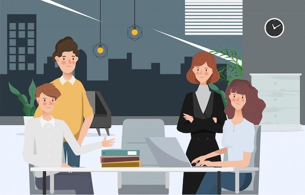 Negocio dibujado a mano personas trabajo en equipo oficina carácter. espacio de trabajo y diseño de interiores. Vector Premium