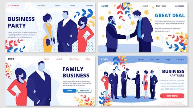 Negocio familiar, socios, trato, conjunto de banners de fiesta Vector Premium